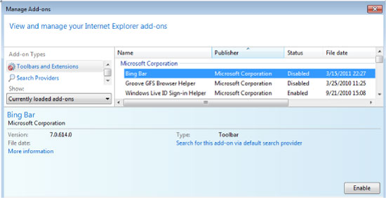 Image of the Manage Add-ons UI Internet Explorer