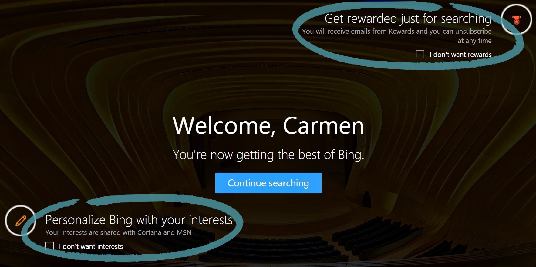 Bing homepage with Rewards and Interests opt-ins