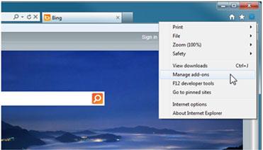 Internet Explorer में उपकरण मेनू की छवि