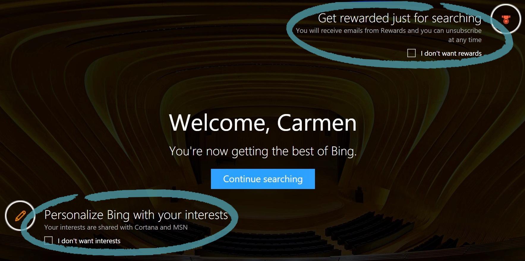 """""""Bing"""" pagrindinis puslapis, kuriame pavaizduoti atlygio ir pomėgių sutikimai"""