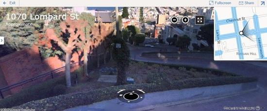 Slika panorame »Streetside« v orodju Zemljevidi Bing