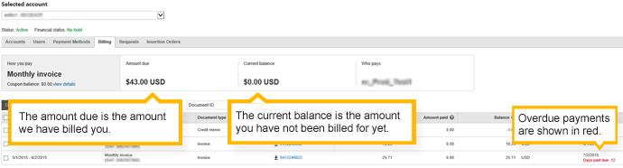 """die Registerkarte """"Abrechnung"""" - Konto mit monatlicher Rechnungsstellung"""