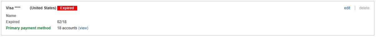 """Zahlungsmethode mit der Bezeichnung """"Abgelaufen""""."""