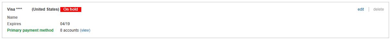 """Zahlungsmethode mit der Bezeichnung """"Gesperrt""""."""