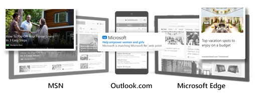 Comparison of sample Microsoft Audience Ads in MSN, Outlook, and Edge