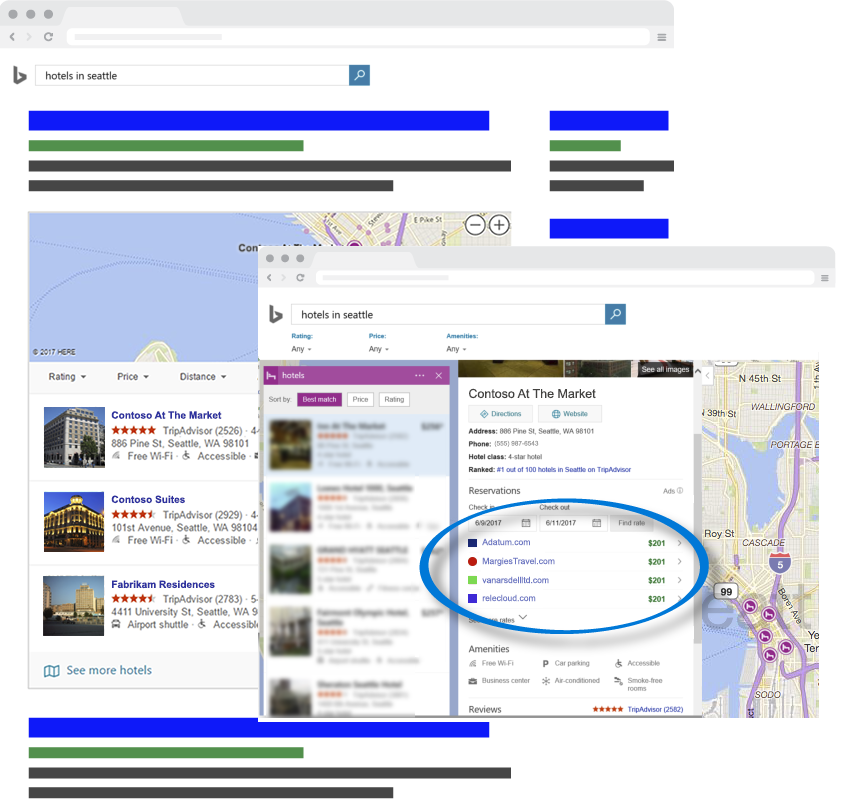 Bing Hotel Ads search results