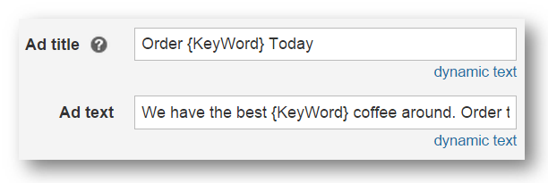 Keyword dynamic text