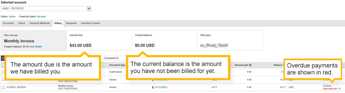 the billing tab - monthly invoice account