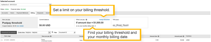 the billing tab - postpay threshold account
