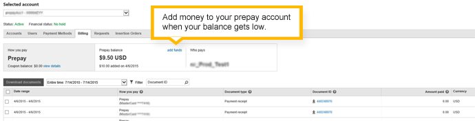 the billing tab - prepay account