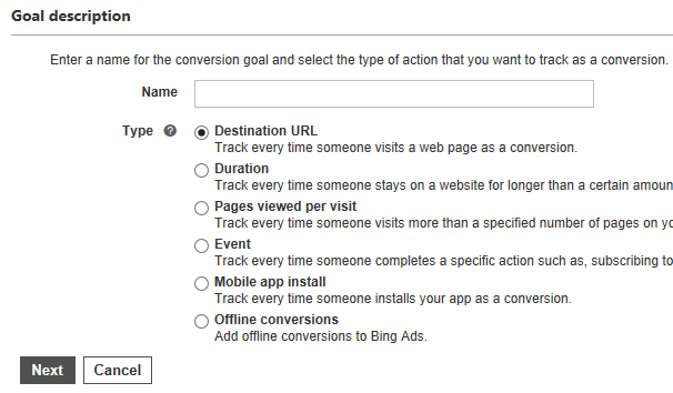Conversion tracking menu