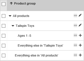Screencap: Product group - dropdown