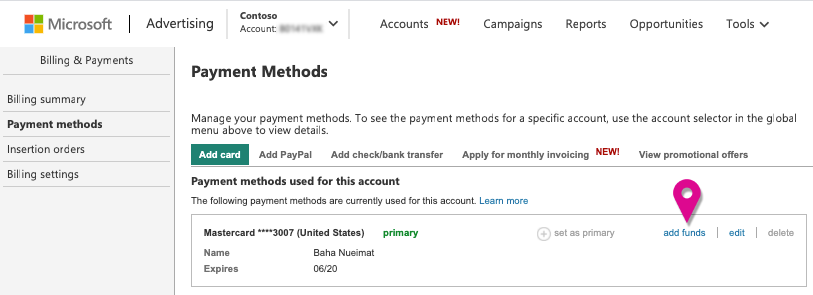 the payment methods tab