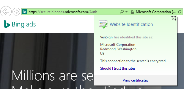 VeriSign in Bing Ads address bar