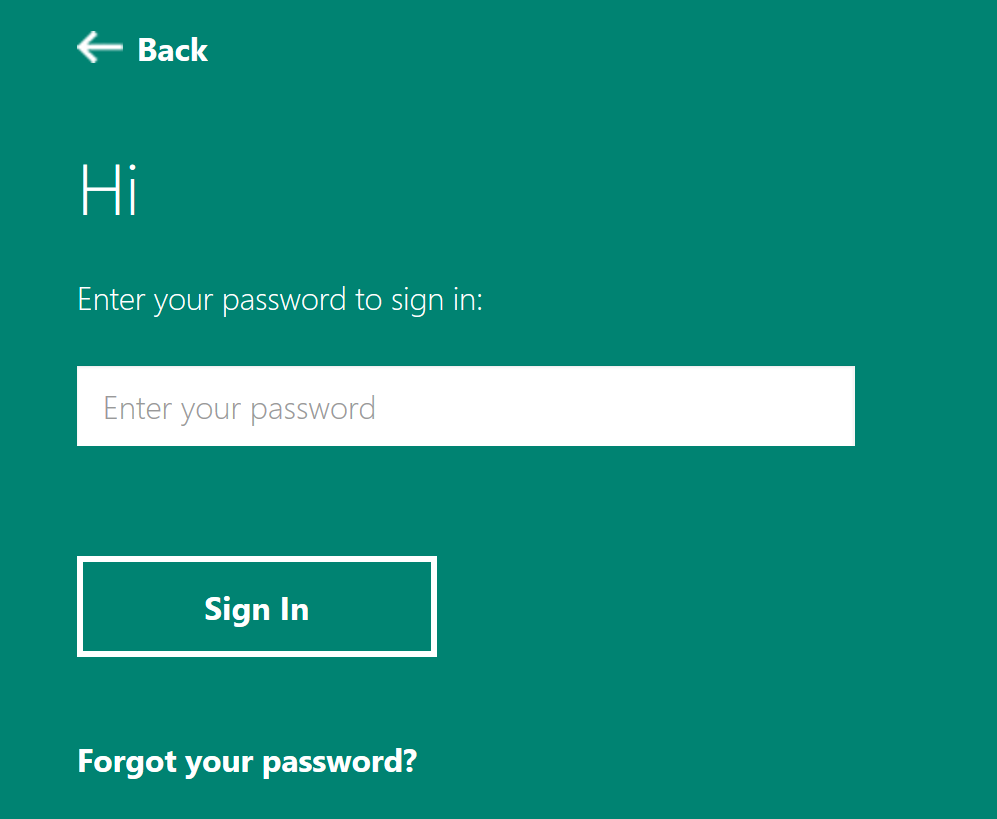 Login panel with box to enter password