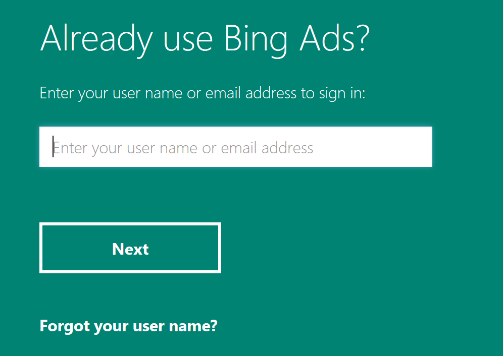 Login panel with box to enter email address or username