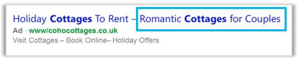 Frase de página de destino de título de anuncio largo