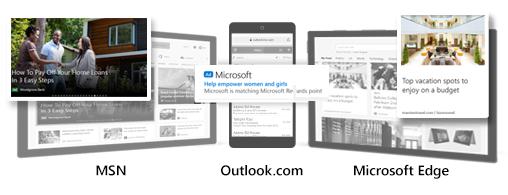 Comparación de los anuncios de público de Microsoft de ejemplo de MSN, Outlook y Edge