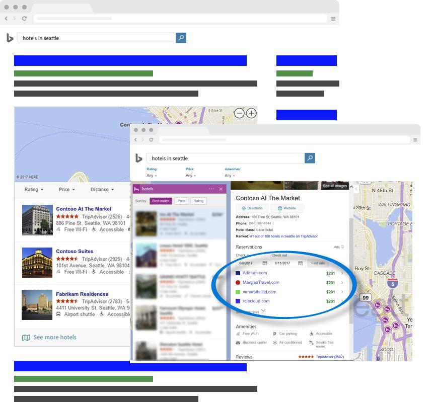 Resultados de la búsqueda de Bing Hotel Ads
