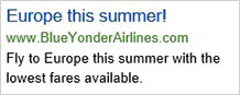 Un anuncio de Bing Ads que anuncia vuelos a Europa.