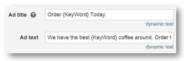 Texto dinámico de palabra clave