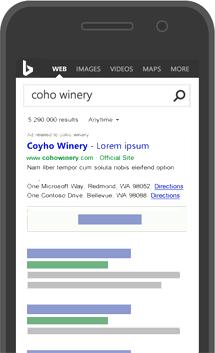 Exemple d'annonce Bing sur une page de résultats de recherche de smartphone