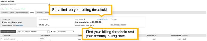 Scheda Fatturazione di un account con pagamento posticipato
