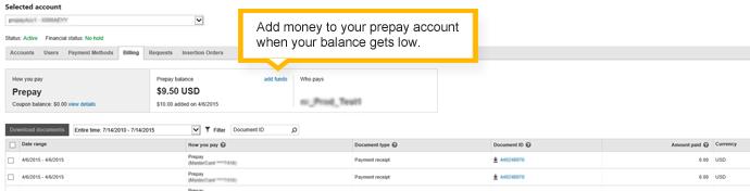 Scheda Fatturazione di un account con pagamento anticipato