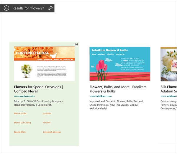 Anúncios de exemplo de Pesquisa Inteligente do Bing